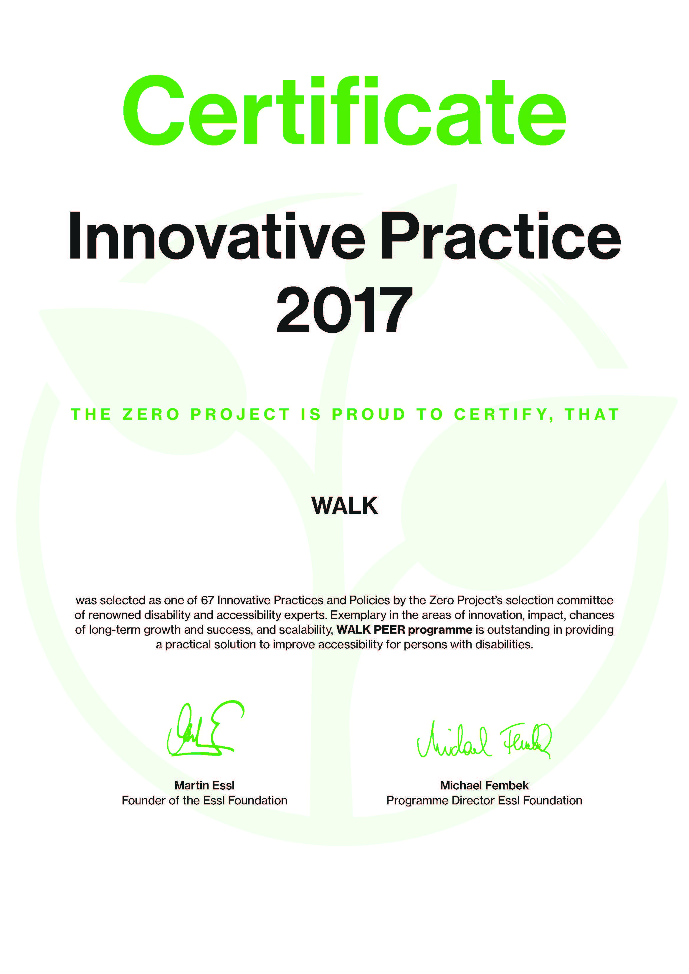 News from the Zero Project