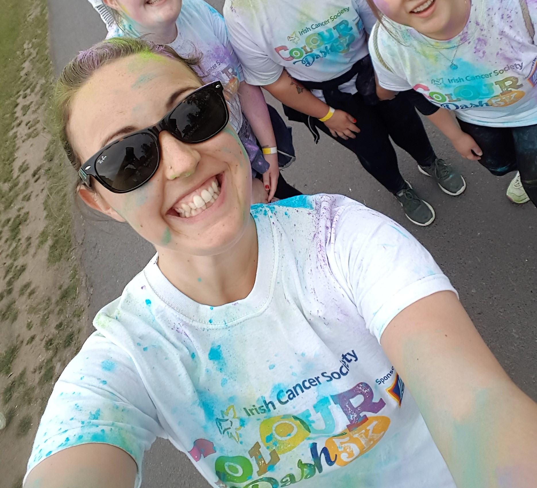 Lisa's colour dash run with her staff mates