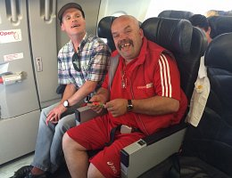 Two men in airplane