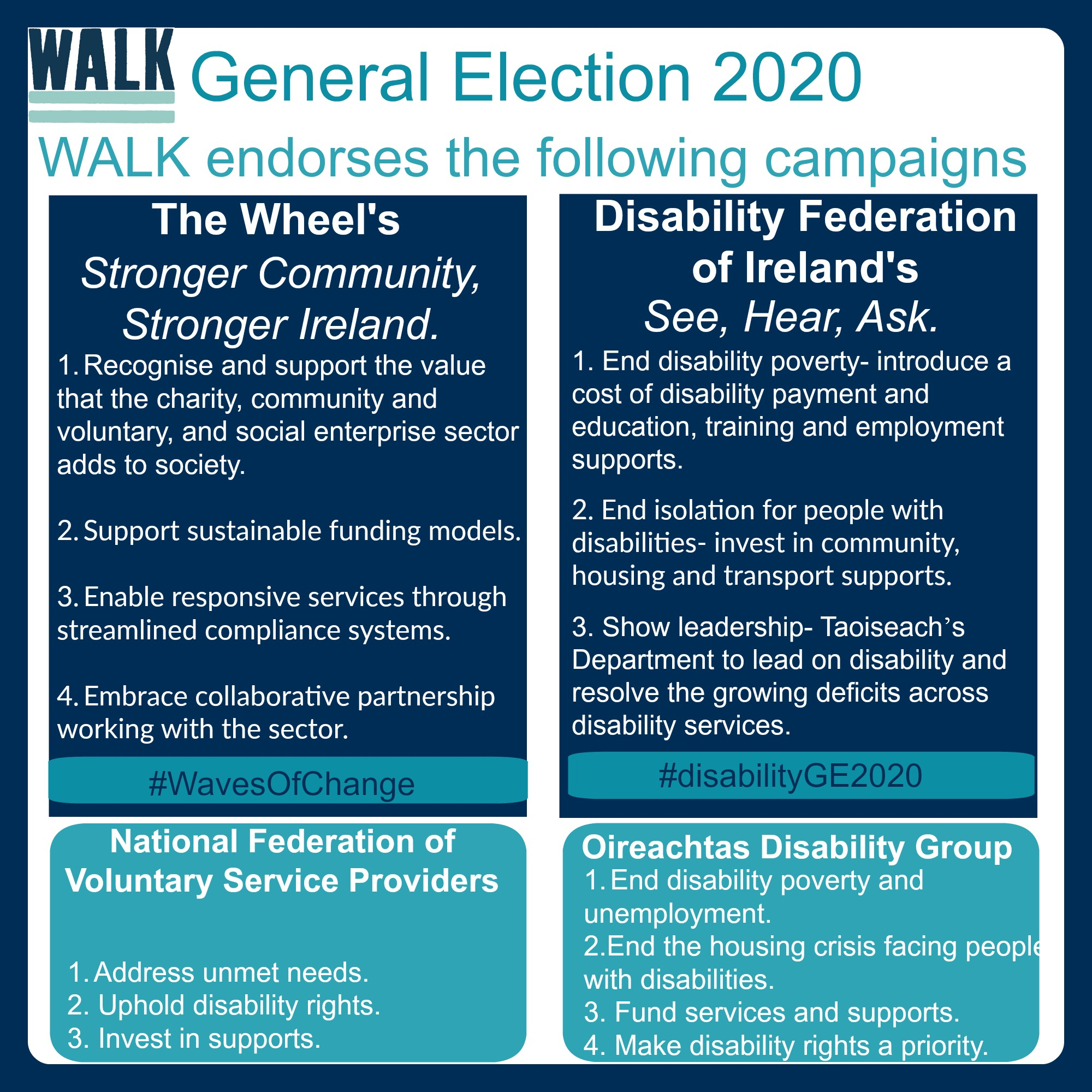 General Election 2020 - WALK's endorsement