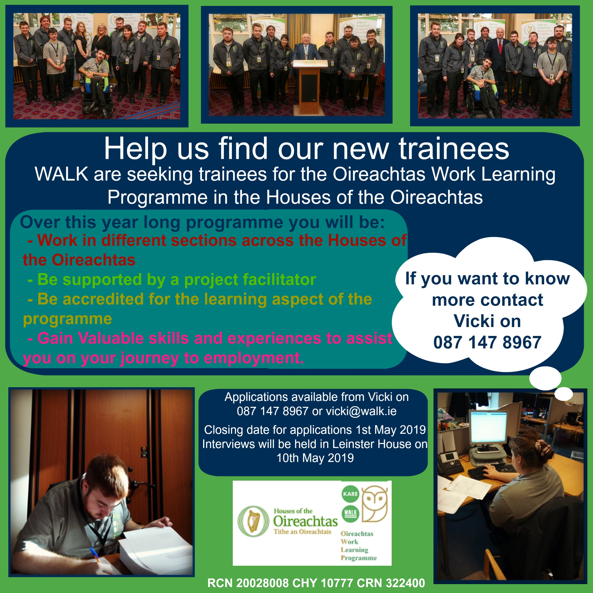 Seeking trainees for Oireachtas Work and Learn Programme