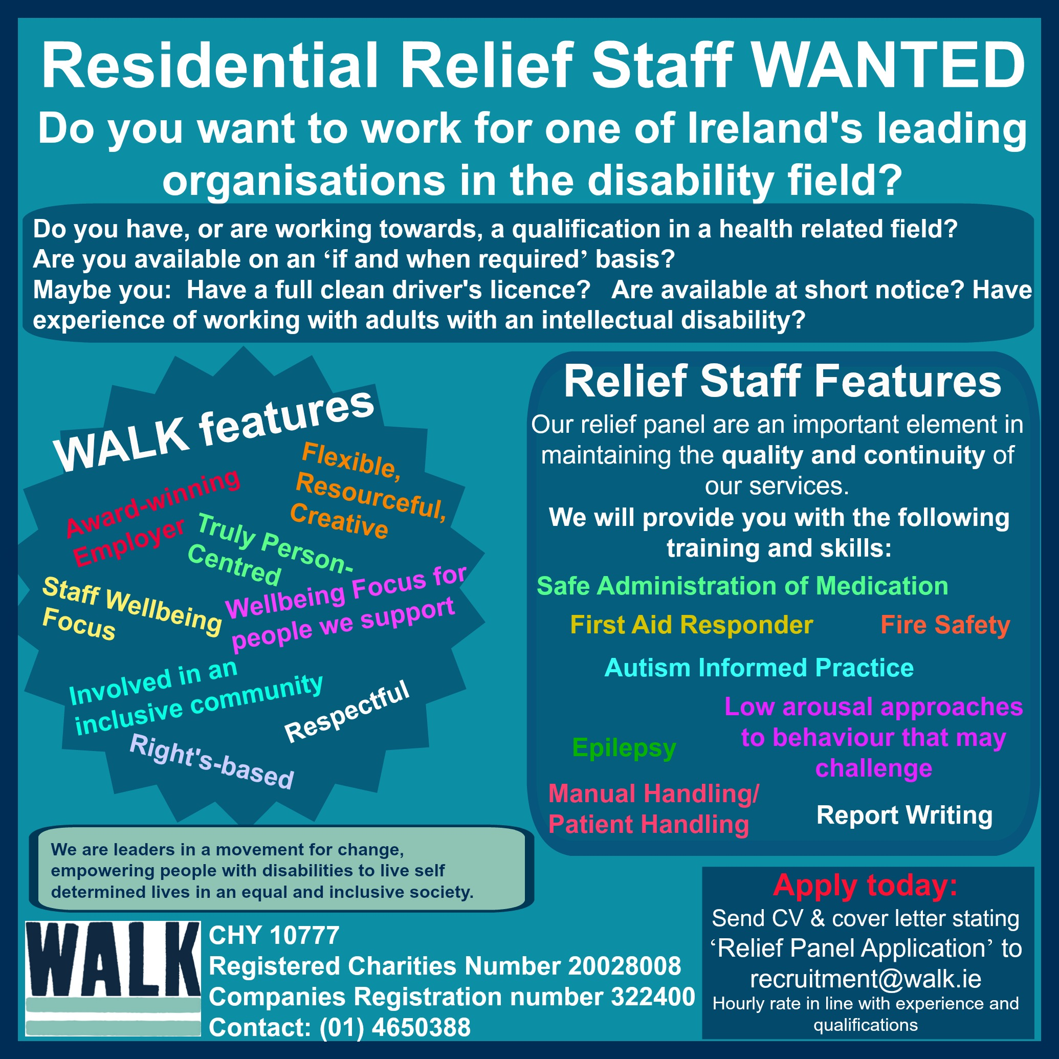 We are hiring relief staff