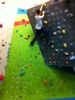 Man on Climbing Wall