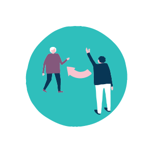 Man waving person off graphic